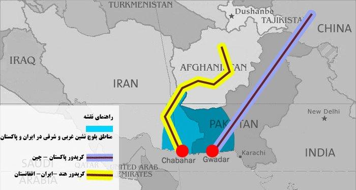 نقشه کریدورهای چین و هند در بلوچستان