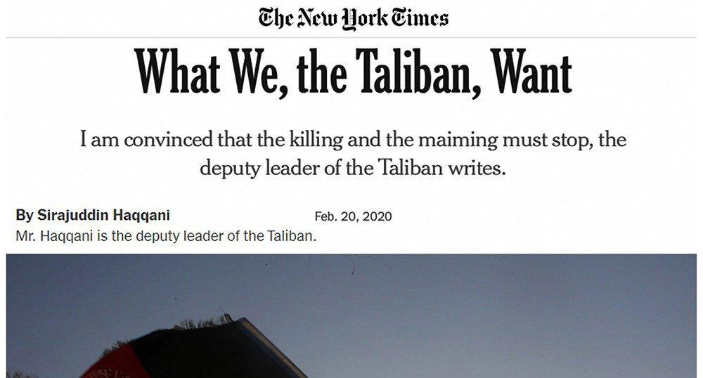 مقاله رهبر طالبان در نیویورک تایمز